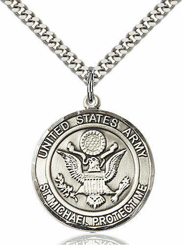 Mens US Army Patron Saint Michael Sterling Silver Engravable Medal Necklace by Bliss