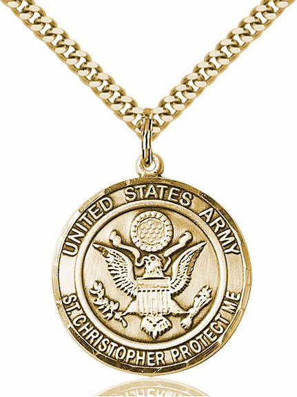 Mens US Army Saint Christopher 14kt Gold-filled Engravable Medal Necklace by Bliss