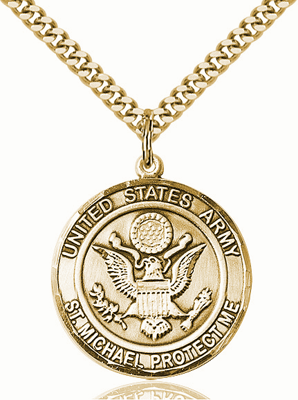 Mens US Army Saint Michael 14kt Gold-filled Engravable Medal Necklace by Bliss