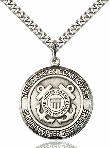 Mens US Coast Guard Patron Saint Christopher Sterling Silver Medal Necklace by Bliss