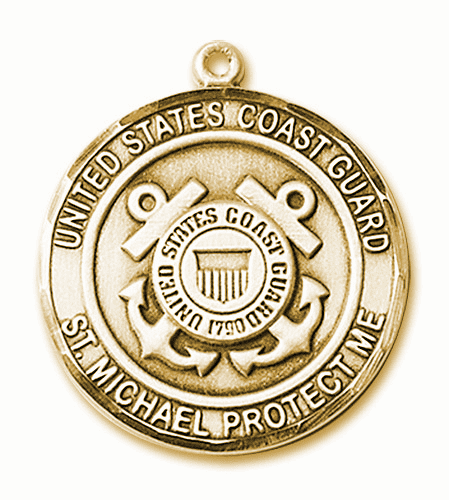Mens US Coast Guard Patron Saint Michael 14kt Gold Medal by Bliss