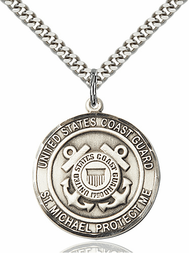 Mens US Coast Guard Patron Saint Michael Sterling Silver Engravable Medal Necklace by Bliss