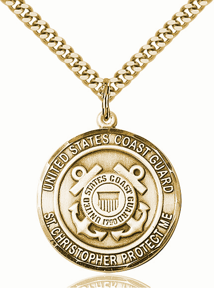 Mens US Coast Guard Saint Christopher Gold-filled Medal Necklace by Bliss