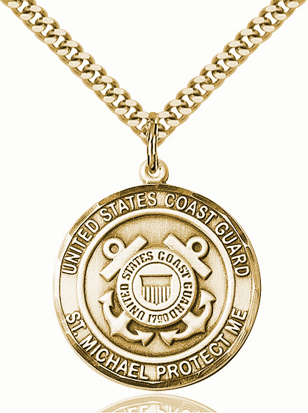 Mens US Coast Guard Saint Michael Gold-filled Medal Necklace by Bliss