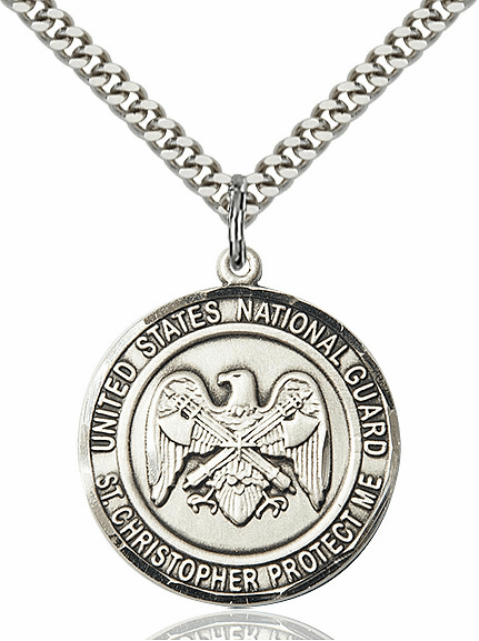 Mens US National Guard Patron Saint Christopher Pewter Engravable Medal Necklace by Bliss