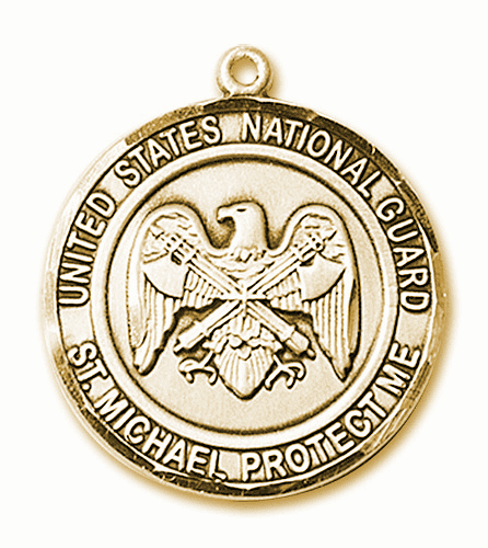 Mens US National Guard Patron Saint Michael 14kt Gold Medal by Bliss