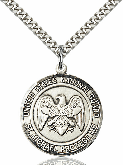 Mens US National Guard Patron Saint Michael Silver-Filled Engravable Medal Necklace by Bliss
