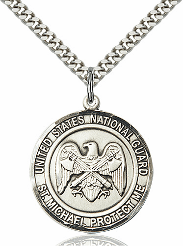Mens US National Guard Patron Saint Michael Sterling Engravable Medal Necklace by Bliss
