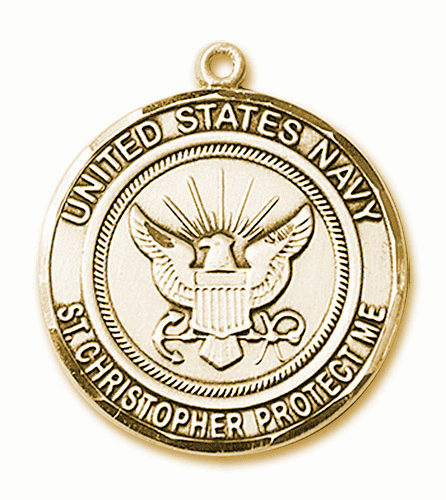 Mens US Navy Patron Saint Christopher 14kt Gold Medal by Bliss