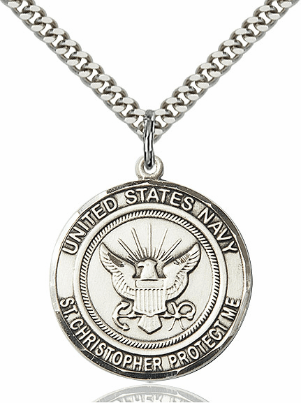 Mens US Navy Patron Saint Christopher Pewter Medal Necklace by Bliss