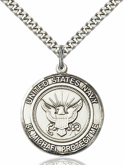 Mens US Navy Patron Saint Michael Silver-Filled Engravable Medal Necklace by Bliss