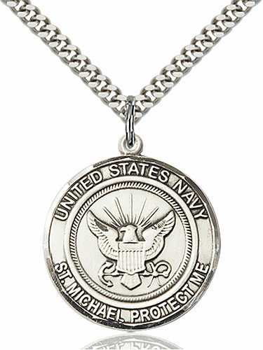 Mens US Navy Patron Saint Michael Sterling Engravable Medal Necklace by Bliss
