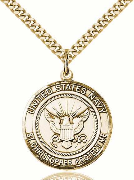 Mens US Navy Saint Christopher Gold-filled Engravable Medal Necklace by Bliss