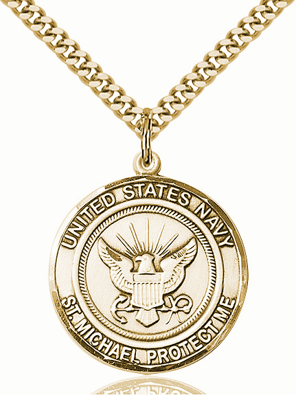 Mens US Navy Saint Michael Gold-filled Necklace by Bliss
