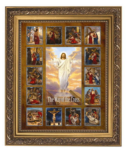 Michael Adams Stations of the Cross Framed Picture w/Gold Frame by Gerffert