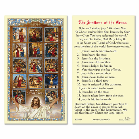 Michael Adams Stations of the Cross Laminated Holy Card 25pc Set