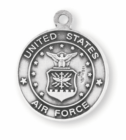 Military St Christopher Air Force Sterling Silver Medal Necklace by HMH Religious
