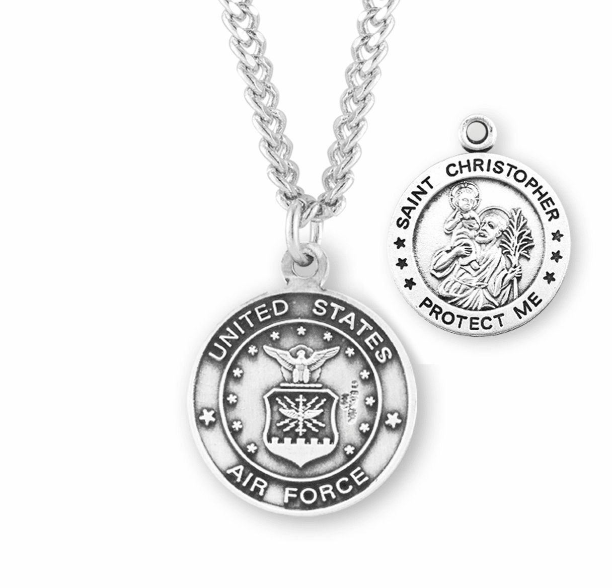 HMH Religious Military St Christopher Air Force Sterling Silver Medal Necklace