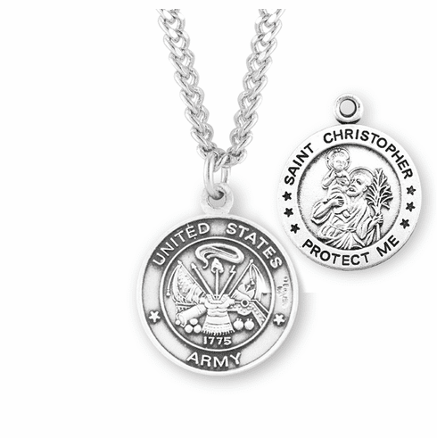 HMH Religious Military St Christopher Army Sterling Necklace