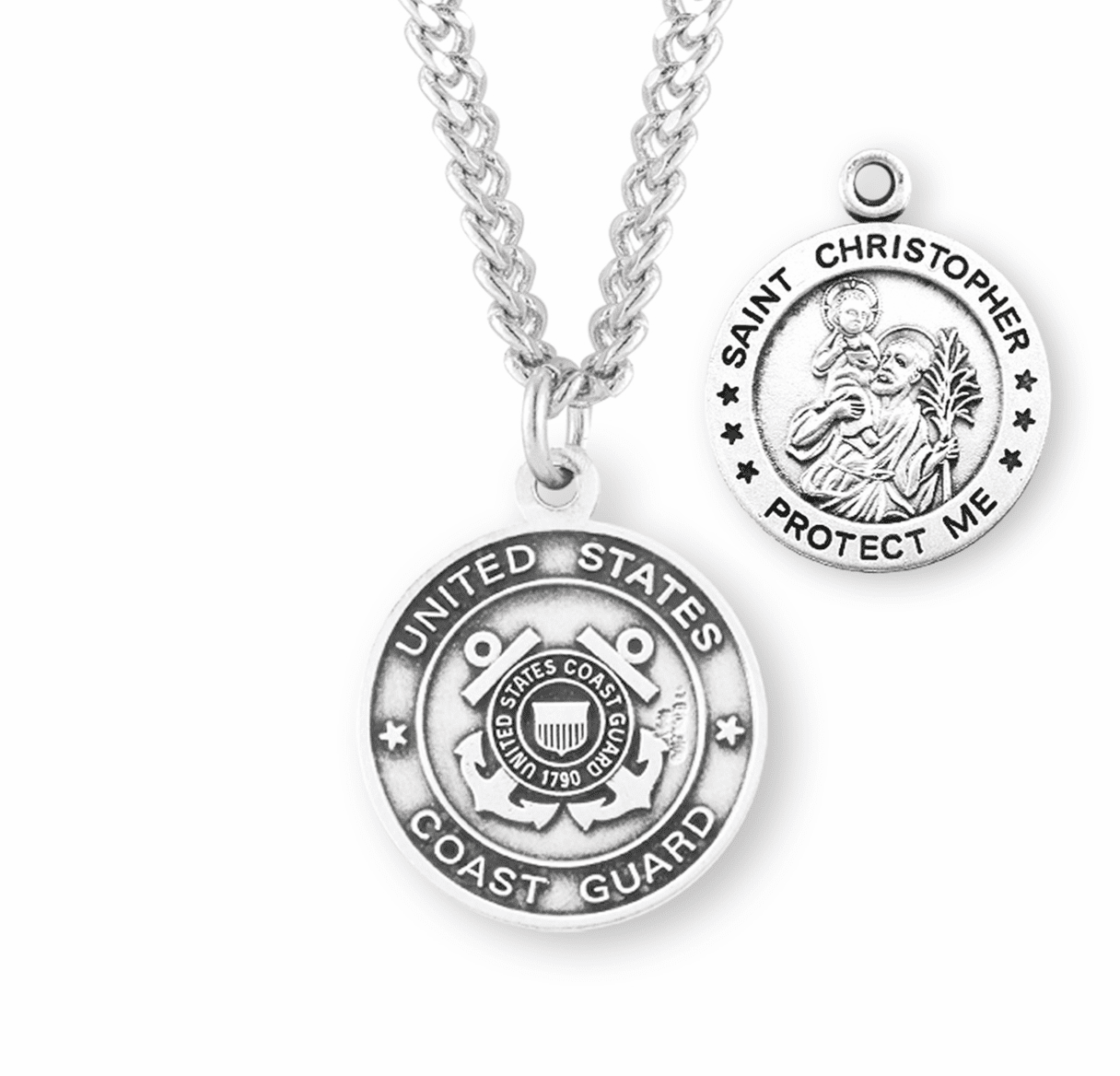 HMH Religious Military St Christopher Coast Guard Sterling Silver Medal Necklace