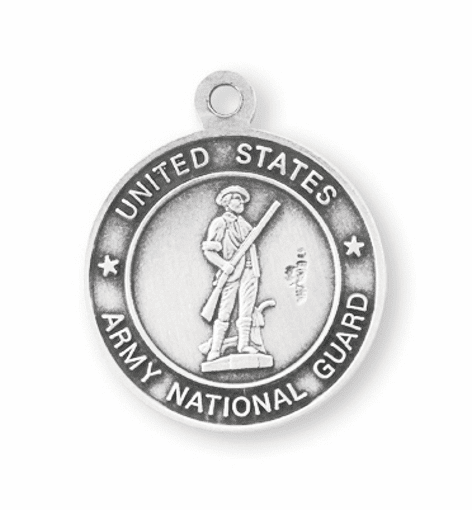 Military St Christopher National Guard Sterling Silver Medal Necklace by HMH Religious