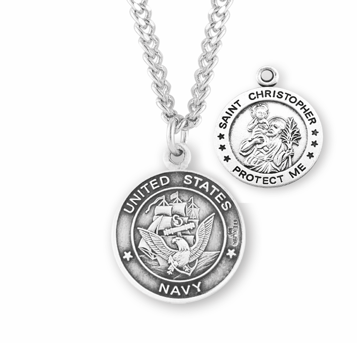 HMH Religious Military St Christopher Navy Sterling Silver Medal Necklace