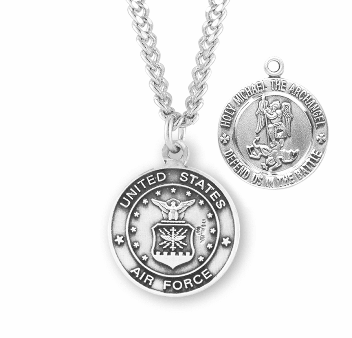 Military St Michael Air Force Sterling Silver Medal Necklace by HMH Religious