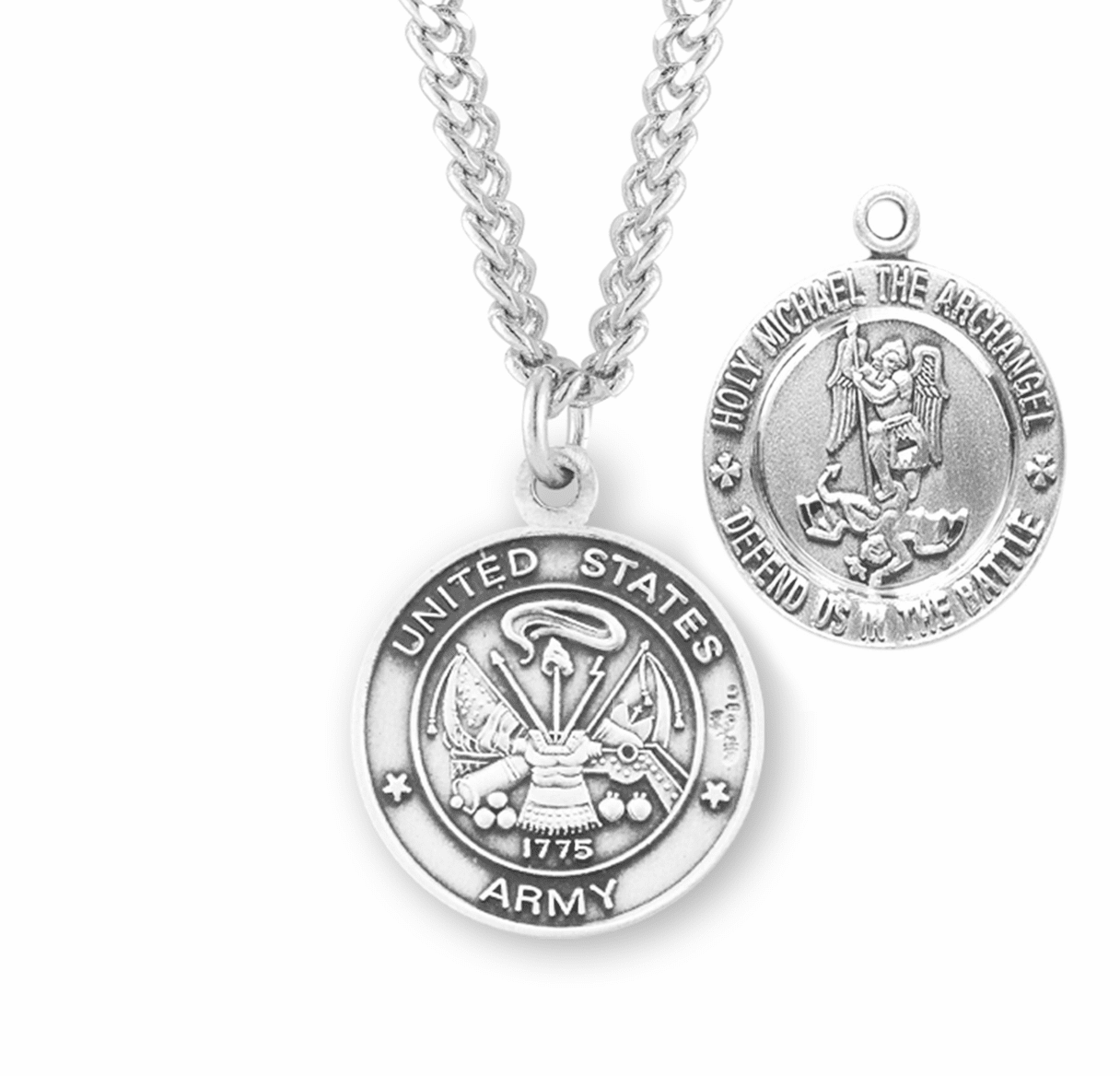 HMH Religious Military St Michael Army Sterling Necklace