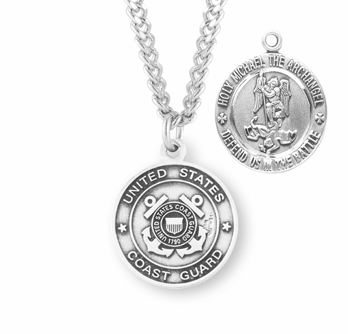 HMH Religious Military St Michael Coast Guard Sterling Silver Medal Necklace