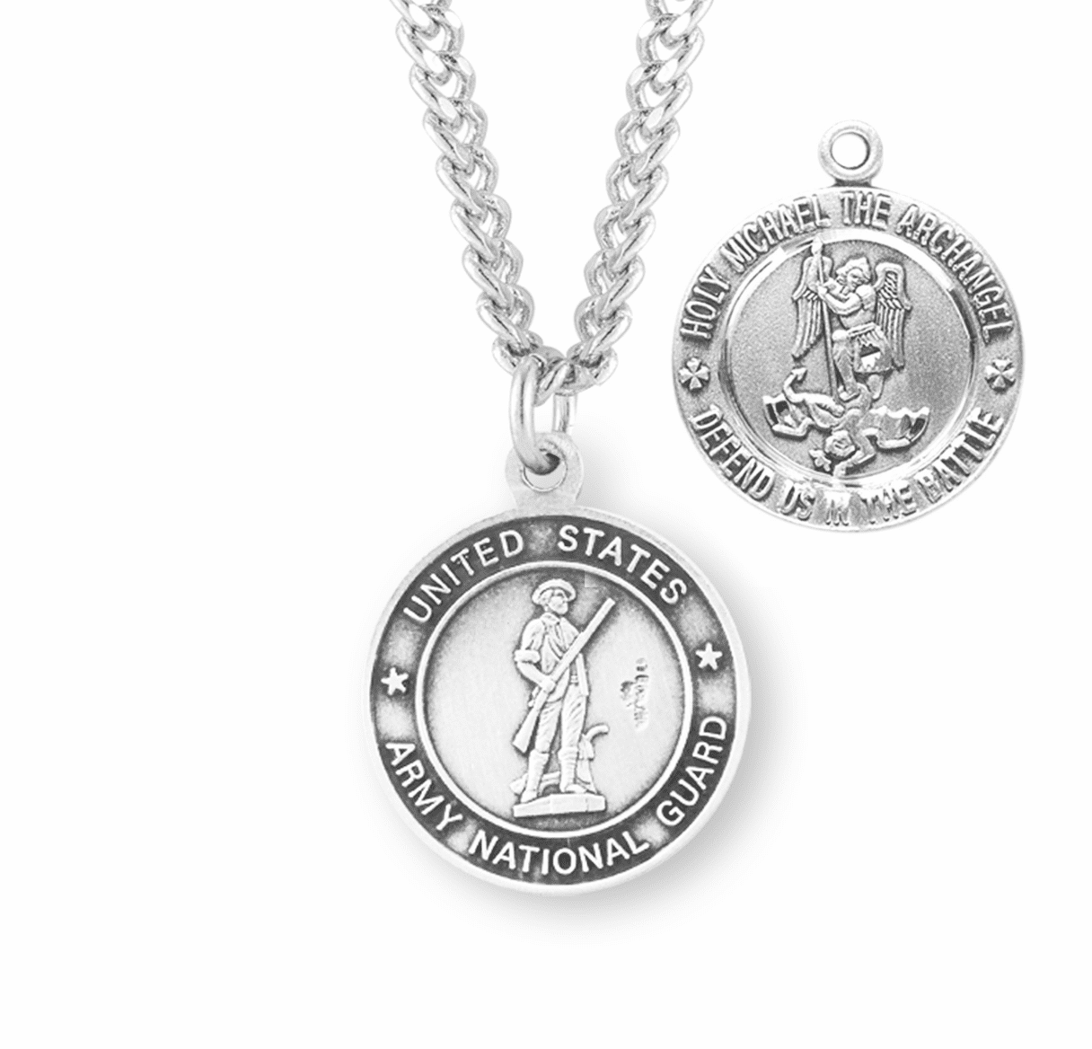 HMH Religious Military St Michael National Guard Sterling Medal Necklace