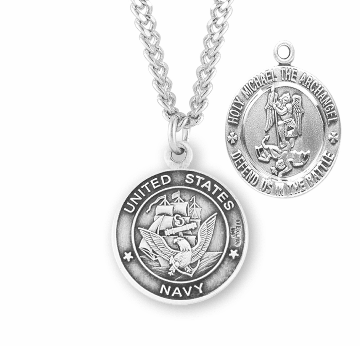 Military St Michael Navy Sterling Silver Medal Necklace by HMH Religious