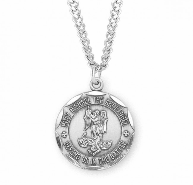 HMH Religious Military St Michael Sterling Defend Us in Battle Medal Necklace