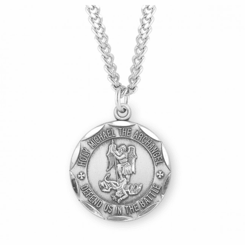 Military St Michael Sterling Silver Defend Us in Battle Medal Necklace by HMH Religious