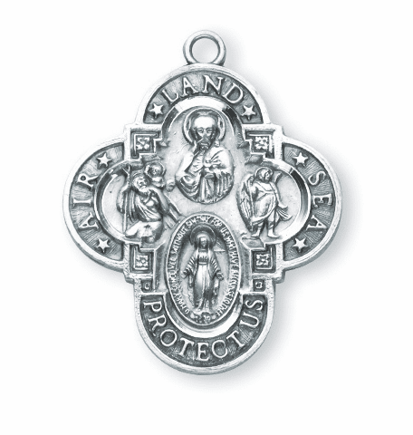 Military Sterling Silver Air, Land, & Sea 4-Way Cross by HMH Religious
