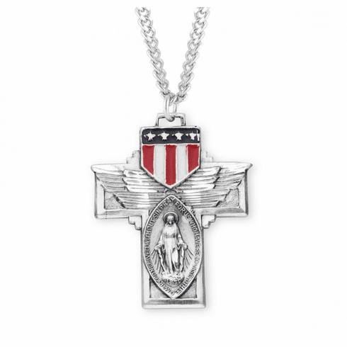 Military Sterling Silver Winged Miraculous Medal Enameled Shield Necklace by HMH Religious