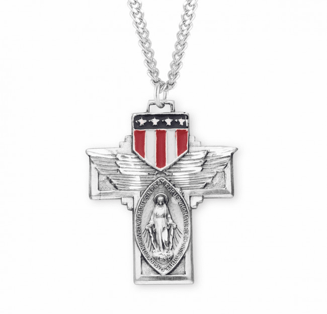 HMH Religious Sterling Winged Miraculous Medal Enameled Shield Necklace