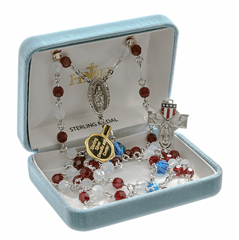 Our Lady of Victory Military Swarovski Crystal Sterling Silver Prayer Rosary by HMH Religious