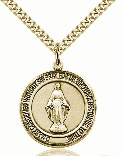 Miraculous 14kt Gold-filled Round Patron Saint Medal Necklace by Bliss