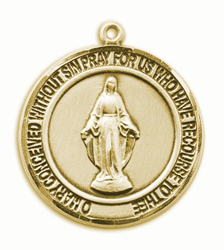 Miraculous 14kt Gold Round Patron Saint Medal Necklace by Bliss
