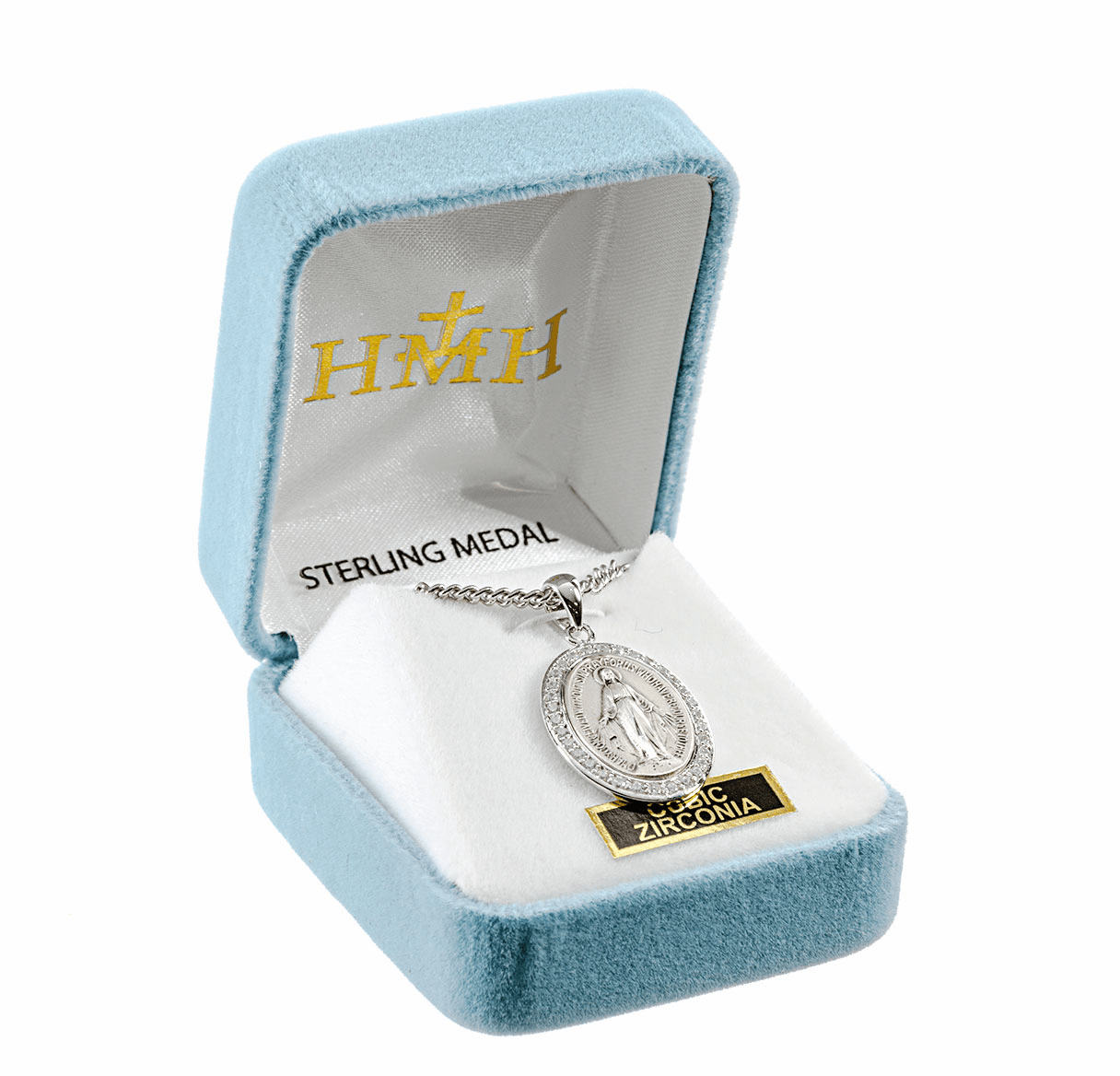 Miraculous Crystal Cubic Zirconia Sterling Silver Pendant by HMH Religious