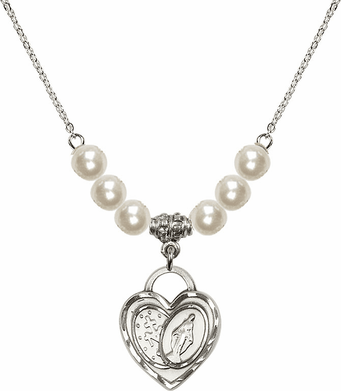 Miraculous Heart 6mm Faux Pearls Necklace by Bliss Mfg