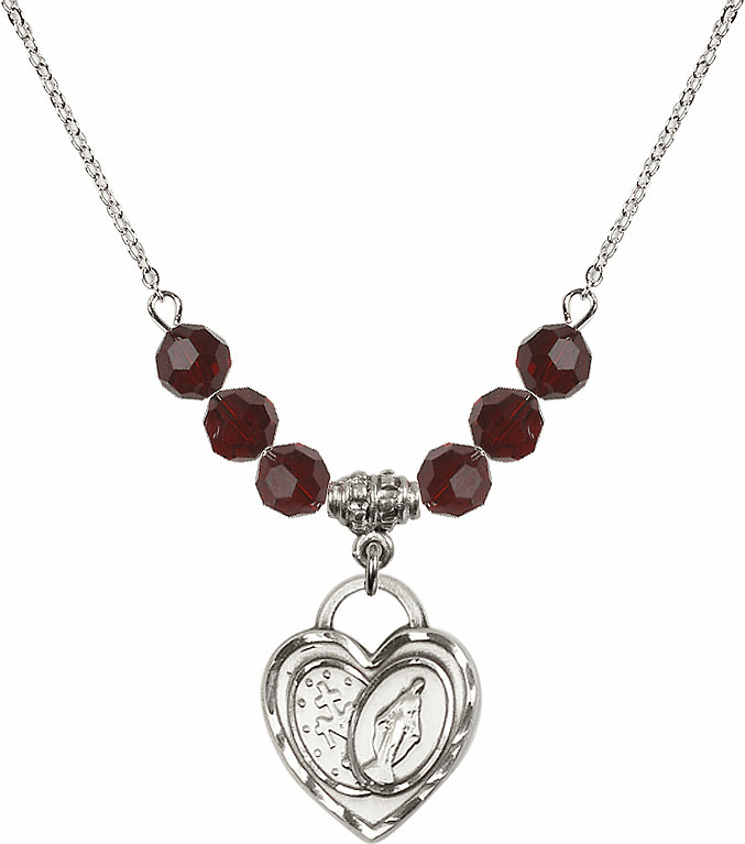 Miraculous Heart 6mm January Garnet Swarovski Crystal Necklace by Bliss Mfg