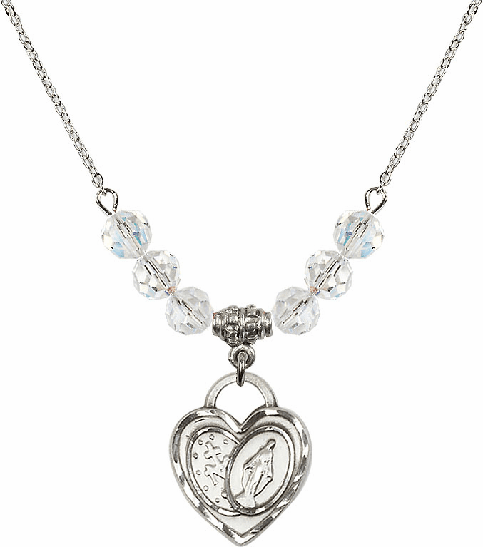Miraculous Heart April 6mm Swarovski Crystal Necklace by Bliss Mfg