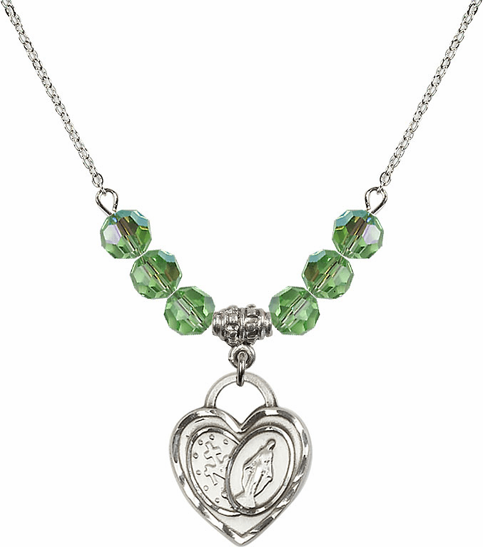 Miraculous Heart August Peridot 6mm Swarovski Crystal Necklace by Bliss Mfg