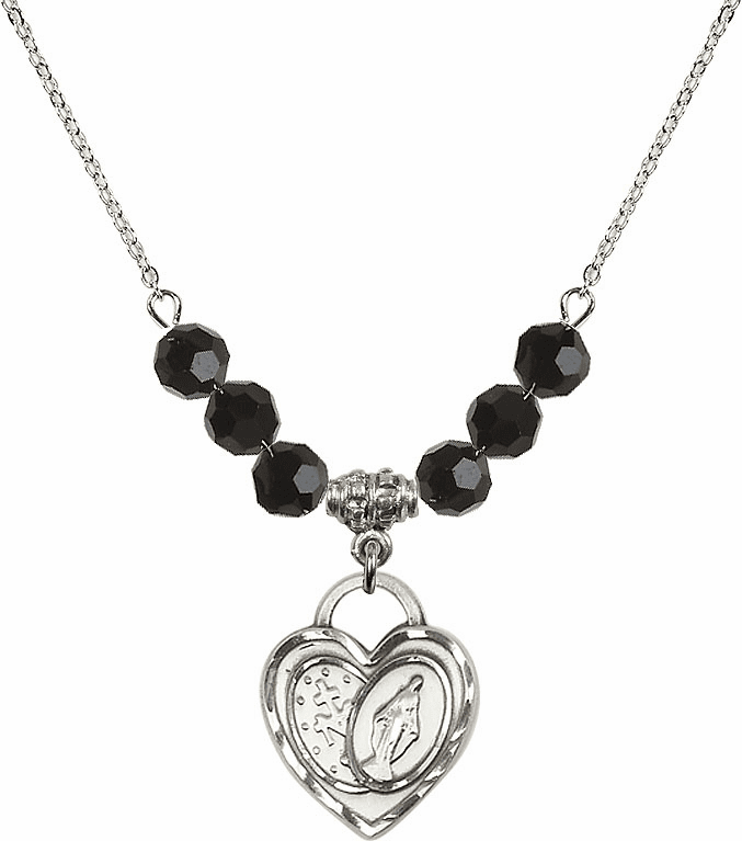 Miraculous Heart Black Jet 6mm Swarovski Crystal Necklace by Bliss Mfg