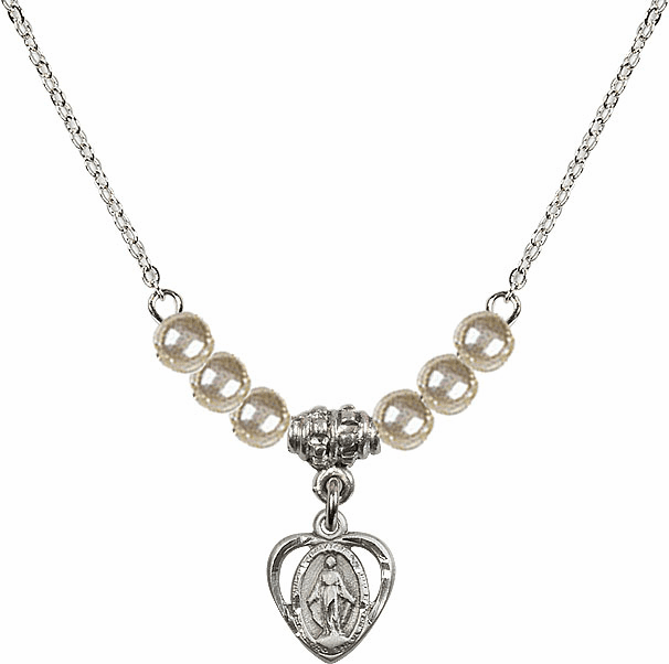 Miraculous Heart Charm Faux Pearl Bead Necklace by Bliss Mfg
