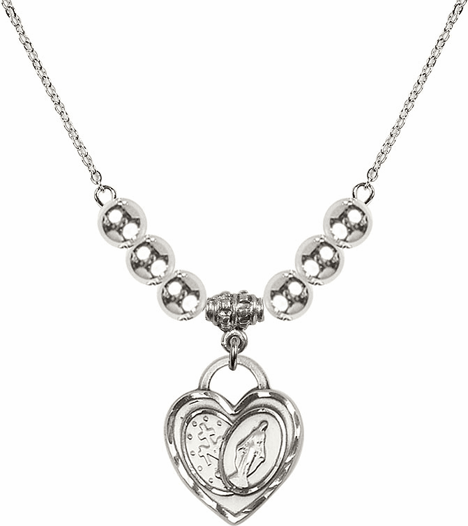 Miraculous Heart Charm w/6mm Silver Beaded Necklace by Bliss Mfg