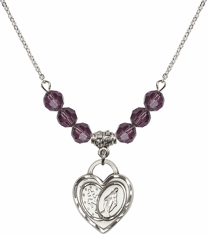 Miraculous Heart February Amethyst 6mm Swarovski Crystal Necklace by Bliss Mfg