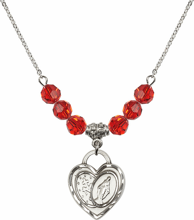 Miraculous Heart July Ruby 6mm Swarovski Crystal Necklace by Bliss Mfg