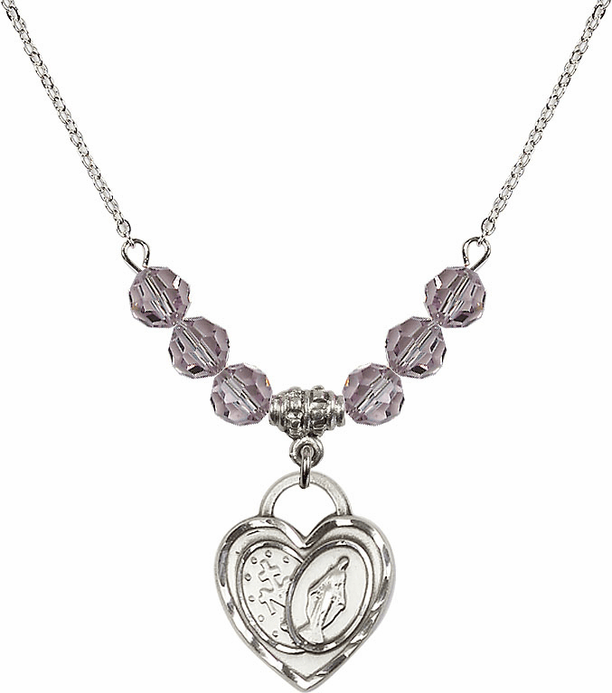 Miraculous Heart June Lt Amethyst 6mm Swarovski Crystal Necklace by Bliss Mfg